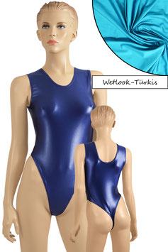 Damen Wetlook Stringbody ohne Ärmel türkis