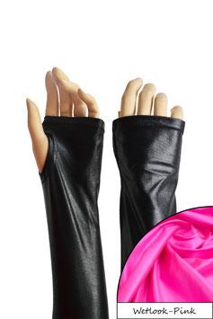 Wetlook fingerlose Handschuhe mit Daumenloch pink