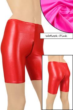 Damen Wetlook Radlerhose mit Schritt-RV pink