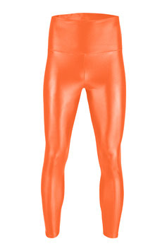 Herren Wetlook High-Waist Leggings orange