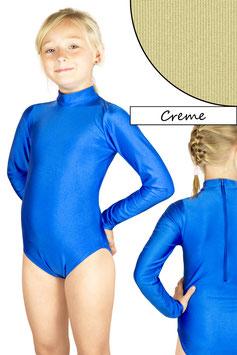Kinder Gymnastikanzug lange Ärmel Kragen Rücken-RV creme