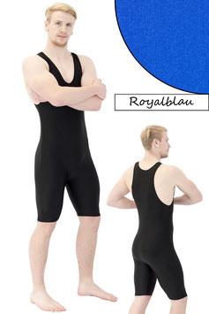 Herren Fitnessganzanzug Radlerbeine Boxerschnitt royalblau