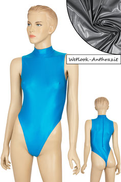 Damen Wetlook Stringbody ohne Ärmel Kragen Rücken-RV anthrazit
