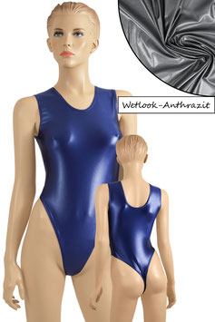Damen Wetlook Stringbody ohne Ärmel anthrazit
