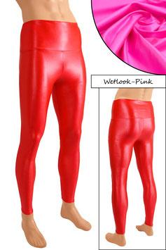 Herren Wetlook High-Waist Leggings pink