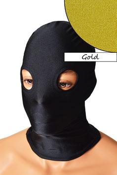Kopfhaube (Maske) gold, mit Löchern für Augen