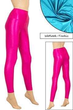 Damen Wetlook High-Waist Leggings türkis