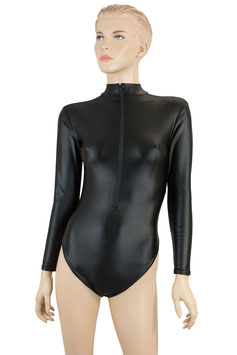 Damen Wetlook Body lange Ärmel FRV schwarz