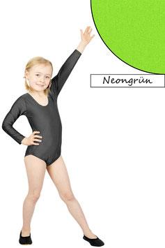 Kinder Gymnastikanzug lange Ärmel neongrün