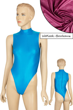 Damen Wetlook Stringbody ohne Ärmel Kragen Rücken-RV bordeaux