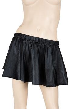 Damen Wetlook Slip mit Rock 30cm schwarz