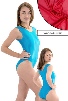 Damen Wetlook Body ohne Ärmel rot