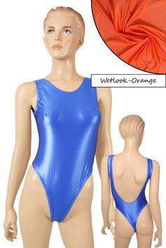 Damen Wetlook Stringbody ohne Ärmel tiefer Rückenausschnitt orange