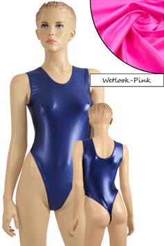 Damen Wetlook Stringbody ohne Ärmel pink