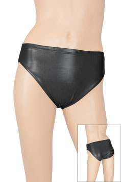 Damen Wetlook Slip schwarz