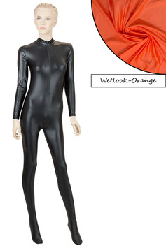 Damen Wetlook Ganzanzug FRV+SRV+Fuß orange