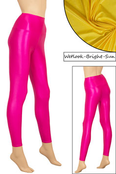Damen Wetlook High-Waist Leggings bright-sun