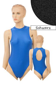 Damen Stringbody ovaler Rückenausschnitt Kragen Druckverschluss schwarz