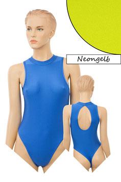 Damen Stringbody ovaler Rückenausschnitt Kragen Druckverschluss neongelb