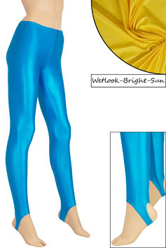 Damen Wetlook Leggings mit Schritt-RV bright-sun