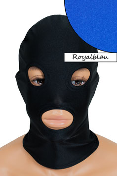 Kopfhaube (Maske) royalblau, mit Löchern für Mund und Augen