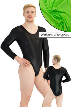 Herren Wetlook Body lange Ärmel neongrün
