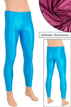 Herren Wetlook Leggings mit Schritt-RV bordeaux