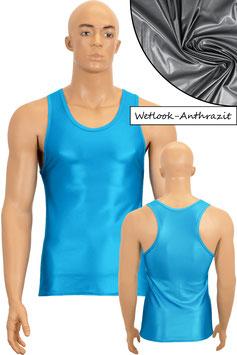Herren Wetlook Boxerhemd Slim Fit anthrazit