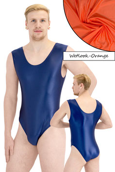 Herren Wetlook Body ohne Ärmel orange