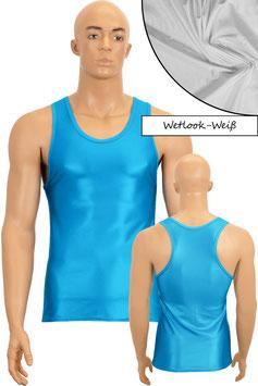 Herren Wetlook Boxerhemd Slim Fit weiß