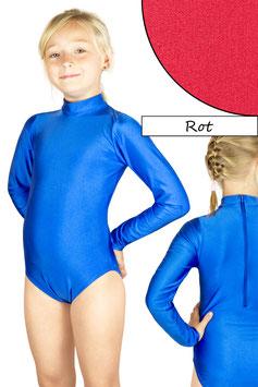 Kinder Gymnastikanzug lange Ärmel Kragen Rücken-RV rot