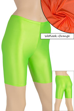 Damen Wetlook Radlerhose orange