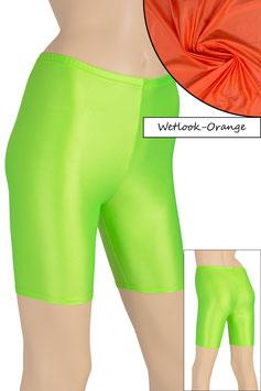 Damen Wetlook Radlerhose orange