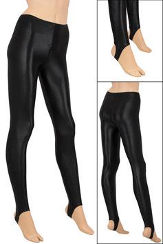 Damen Wetlook Leggings mit Schritt-RV schwarz