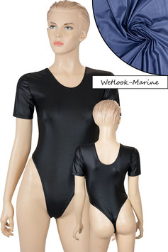 Damen Wetlook Stringbody kurze Ärmel marine