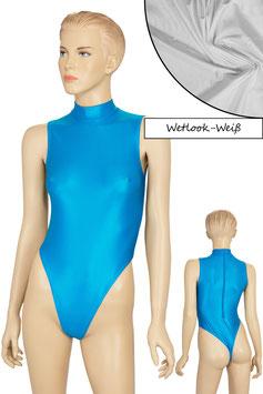 Damen Wetlook Stringbody ohne Ärmel Kragen Rücken-RV weiß