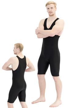 Herren Fitnessganzanzug Radlerbeine Boxerschnitt schwarz