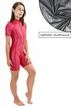 Damen Wetlook Ganzanzug kurze Ärmel und Beine FRV anthrazit