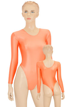 Damen Wetlook Stringbody lange Ärmel orange