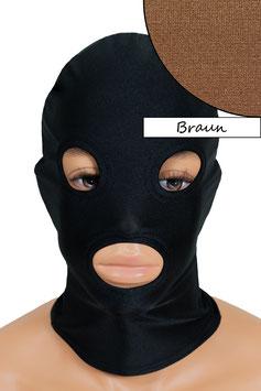 Kopfhaube (Maske) braun, mit Löchern für Mund und Augen