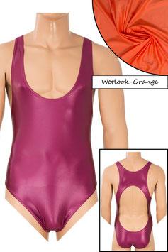 Herren Wetlook Body Boxerschnitt und freier Rücken orange