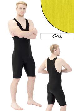 Herren Fitnessganzanzug Radlerbeine Boxerschnitt gelb