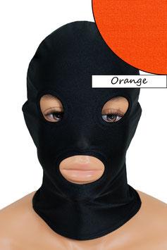 Kopfhaube (Maske) orange, mit Löchern für Mund und Augen