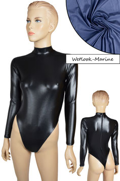 Damen Wetlook Stringbody lange Ärmel RRV marine