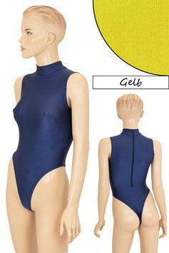 Damen Stringbody RRV+Kragen ohne Ärmel gelb