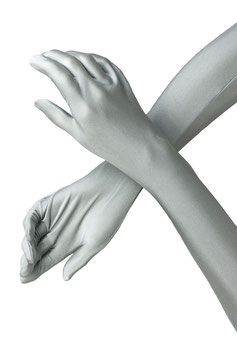 Lange Handschuhe silber