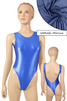 Damen Wetlook Stringbody ohne Ärmel tiefer Rückenausschnitt marine