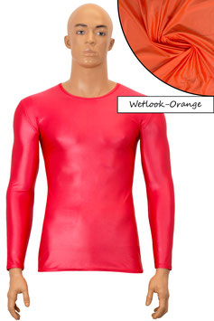 Herren Wetlook T-Shirt lange Ärmel orange