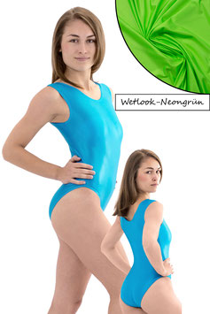 Damen Wetlook Body ohne Ärmel neongrün