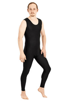 Herren Ganzanzug ohne Ärmel lange Beine Schritt-RV Rundhalsausschnitt schwarz